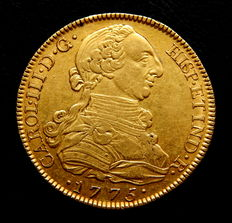 Spain – Carlos III – 8 escudos doubloon – 1775 – Madrid PJ – no dot between assayers – gold – rare