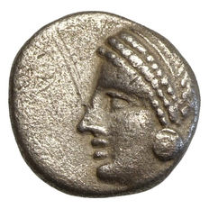 Ancient Greece - Mysia - LAMPSAKOS (400-300 BC) AR Diobol, Janus' head, Athena's head