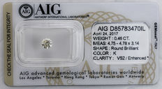 0.46  ct Brilliant cut  Diamond  K  VS2