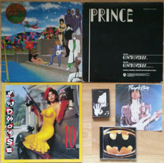 "6 Very collectible Prince items: LP: Around the world in a day; 12"": Controversy (promo); cassette single: Money don't matter 2night; CD: Batman; 7"": Purple rain; 12"": Madhouse 10 (the perfect mix)"