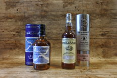 Edradour Caledonia 12 YO + The Unchillfiltered Collection Signatory Vintage Distilled 2006 - 2 Bottles in original tubes