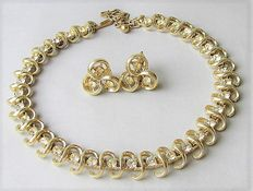 Signed CORO – Demi parure – Necklace and earrings – 1954