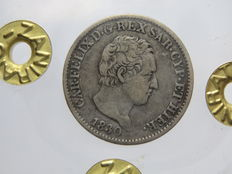 Kingdom of Sardinia – 50 Cent, 1827 and 1830, Carlo Felice (2 coins) – silver