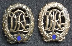 "Germany Two ""DRL"" Reich sports badges Bronze and silver. 3rd Model"