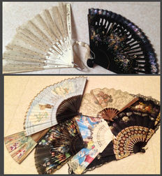 Lot of 8 fans, circa 1900