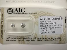 Lot of 2 Round cut diamonds total 0.64 ct F VS2