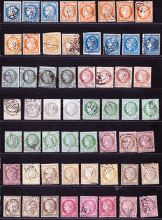 France 1870-1873 - 73 various cancelled stamps on Ceres, Napoleon III and several Bordeaux. Yvert No37 to 58, varying seals with good values.