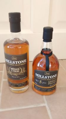 2 bottles - Millstone Ménage a Trois & Millstone 5 years old lightly peated