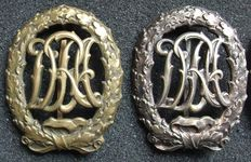 "Germany Two ""DRA"" Reich sports badges Bronze and silver. 1st Model"