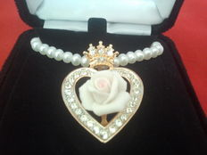 """Franklin Mint """"Diana Princess of Wales rose """" necklace"""