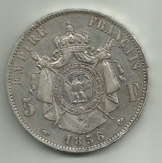 France – 5 Francs 'Napoléon III' 1856-A Paris – Silver.