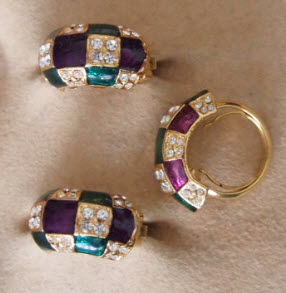 Costume jewellery earrings and ring cloisonné enamel 22 kt gold-plated