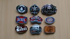 9 x belt buckle collection - UK USA