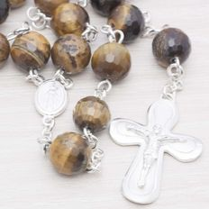 Rosary made of Faceted Tiger Eye beads with Sterling silver 925.