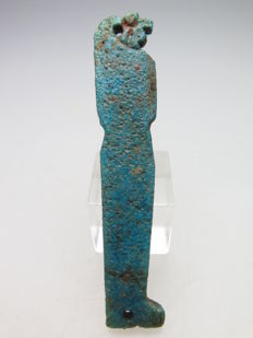 Egyptian faience Mummy decoration of one of the sons of Horus (Kebehsenoef) - 67 mm