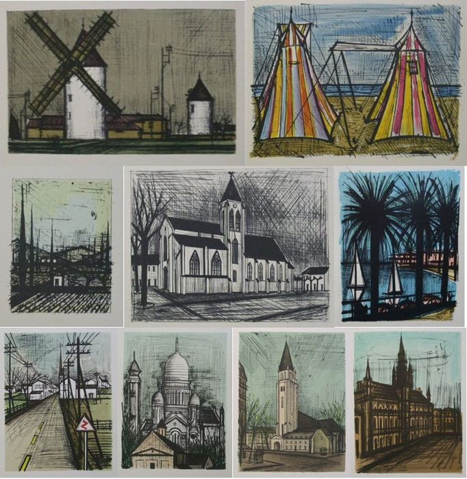 Bernard Buffet - Paysages (9 paintings)