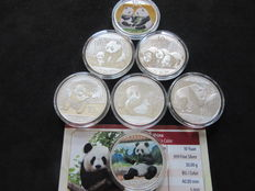 China - 10 Yuan 2009/2017 'Panda' including 2 colored (lot of 7 coins) - Silver