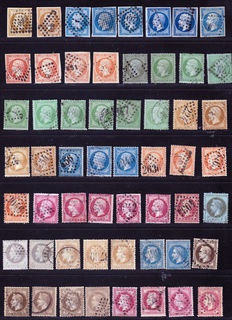 France 1853/1867 – 56 stamps, cancellations on Napoleon III varieties – Yvert no. 13A to 32, various postmarks with good value