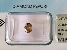 Oval-cut diamond of 0.79 ct, deep brown, fancy natural, SI2, VG/G, NO FLUORESCENCE