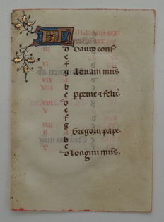 Manuscript; Original illuminated sheet from the 15th century on vellum - approx. 1410