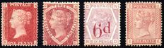 Great Britain 1858/1883 - Line-engraved & Surface Printed Lot Four Values - 1d to 6d on 6d Lilac - Stanley Gibbons 43/166