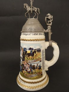 Prince Carl of Bavaria's Heavy Cavalry Regiment, Reservist Tankard With a Tin Lid and See-Through Image