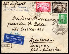 German Empire 1928 - 'Zeppelin 1 RM and 4RM' on airmail letter to Paraguay - MIchel 424, 455
