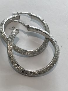 18 kt white gold hoop earrings - 38 mm