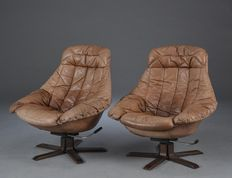 H.W. Klein for Bramin - set of 2 vintage leather armchairs