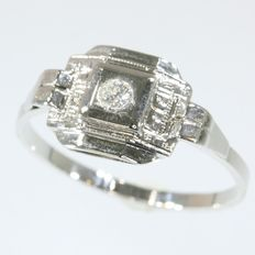 French white gold diamond ring, anno 1920