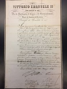 Decree signed by Victor Emmanuel II and Camillo Benso, Count of Cavour 1855