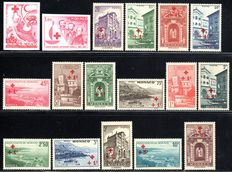 "Monaco 1940/1963 – ""Vistas with red overprint  20c to 20 Fr. and Red Cross 1963 not perforated colour samples, Michel 205-219, 726-727"