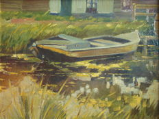 Unknown-  Bootje in het riet /  Small boat in the reeds