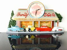 Coca Cola display with clock - Family Drive-In - 1988