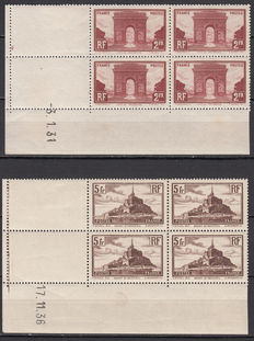 France 1929/1931 – Monuments and sites – Yvert No. 258 , 260 date corner
