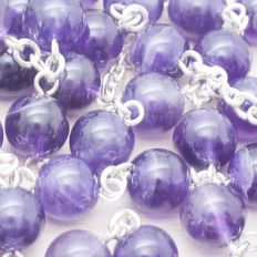 Rosary made of Amethyst beads with Sterling silver 925.