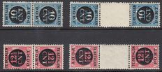 Netherlands 1924 – Portrait stamp Tête-bêche strips – NVPH P67A/68b, with inspection certificate