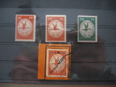 German Empire/Reich 1912 - air mail, Michel no. I/III and yellow dog Michel no. IV