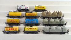 """Fleischmann H0 - 5033/5032/5401/5404/5403/1492 - 11 Goods wagons , silo- and Tanker wagons incl. """"Shell"""" of the DB"""