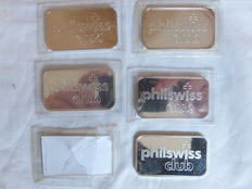 5 silver bars of one troy ounce 999/1000,  'Philswiss Club'  by Argor Heraeus S.A., twentieth century