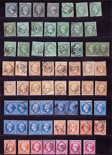 France 1862 – Study of colours and cancellations on Napoleon III varieties – Yvert no.19 to 24, various postmarks with good value