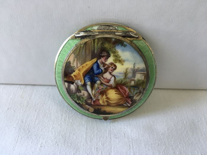 Vintage solid silver Enamel compact (  Austria ) second half of 19th century maker BK
