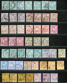 France 1876-1900 - collection of 50 stamps Type Sage N sous U and N sous B - Yvert No61 to 95