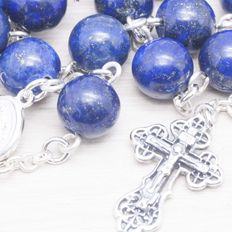 Rosary made of Lapis Lazuli beads with Sterling silver 925.