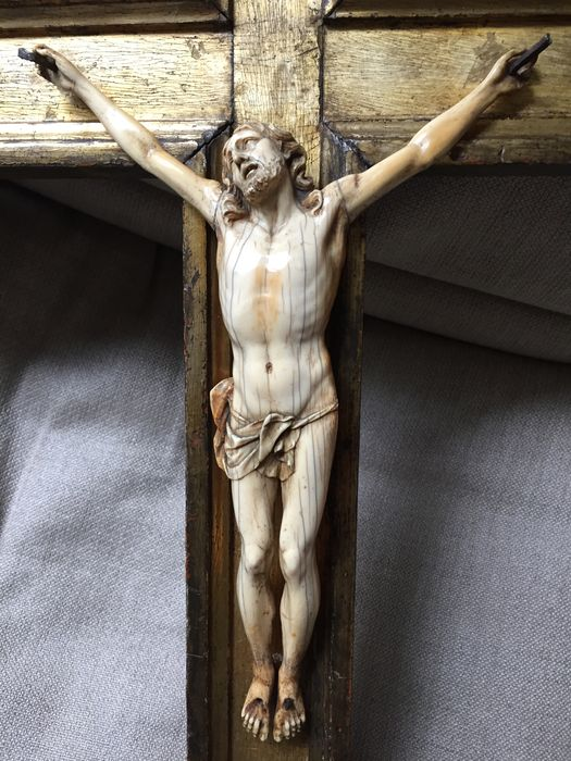 Ivory Christ on wooden cross - 19th century