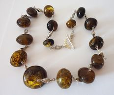 Genuine greenish yellow Baltic Amber necklace, 74 gr.