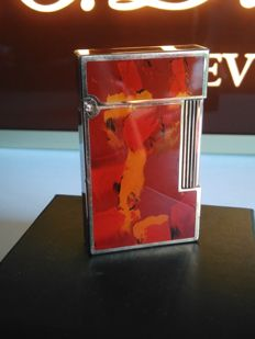 S.T DUPONT lighter line 2 Chinese lacquer, marble and gold plated