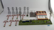 Scenery H0 – Power station and distribution station with 13 masts