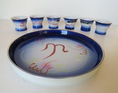 Curiosities; Set of 6 erotic sake bowls with tray-2nd half of 20th century