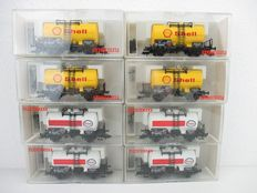 Fleischmann H0 - 5410/5411 - Eight tanker wagons of the firms Shell and Esso
